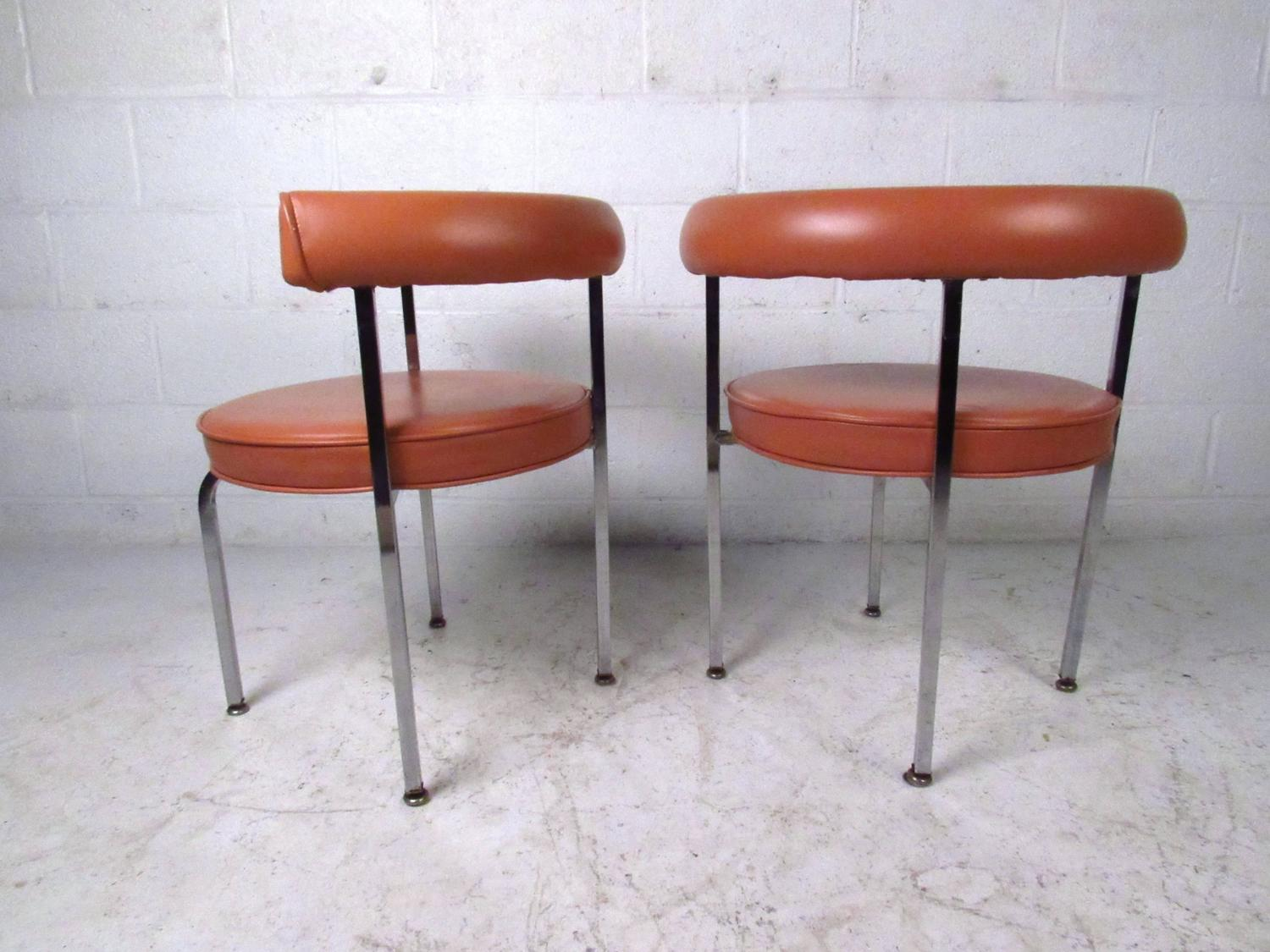 Mid Century Modern Cassina Style Barrel Back Side Chairs