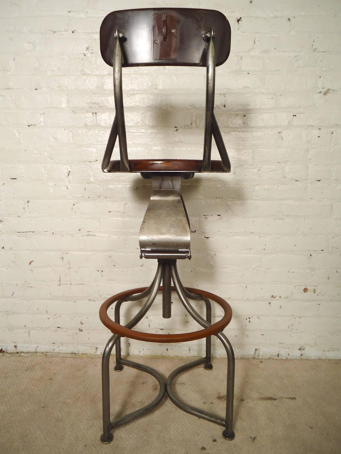 Unique Operator Swivel Stool Refinished At 1stdibs