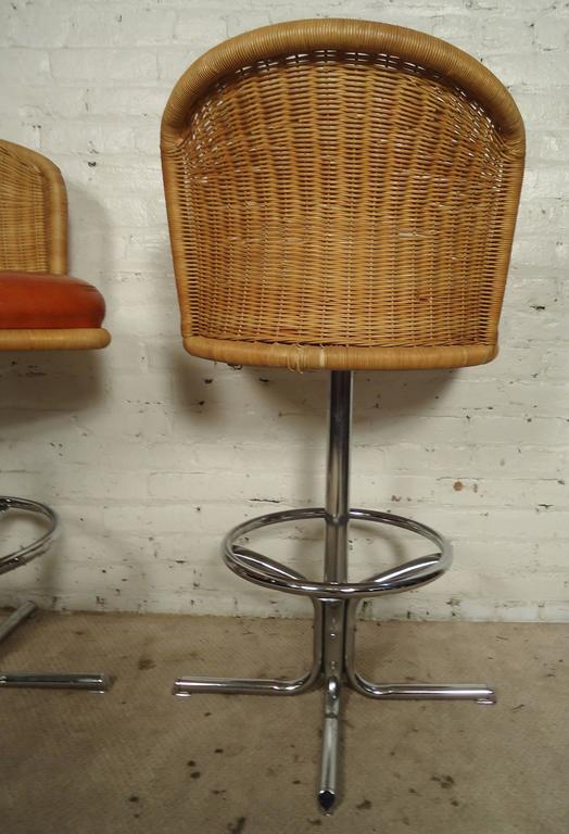 Three Mid Century Chrome And Wicker Barstools By Daystom