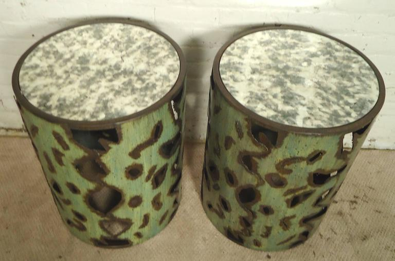Round pedestal style side tables with mirrored tops. Torch cut metal base with green patina style coloring. Make great sofa side tables.