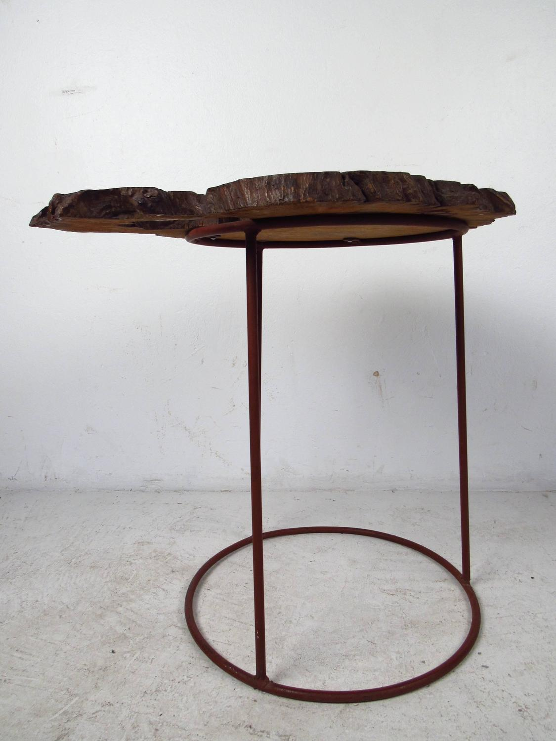 Tree Side Table ~ Mid century modern free form tree slab side table for sale