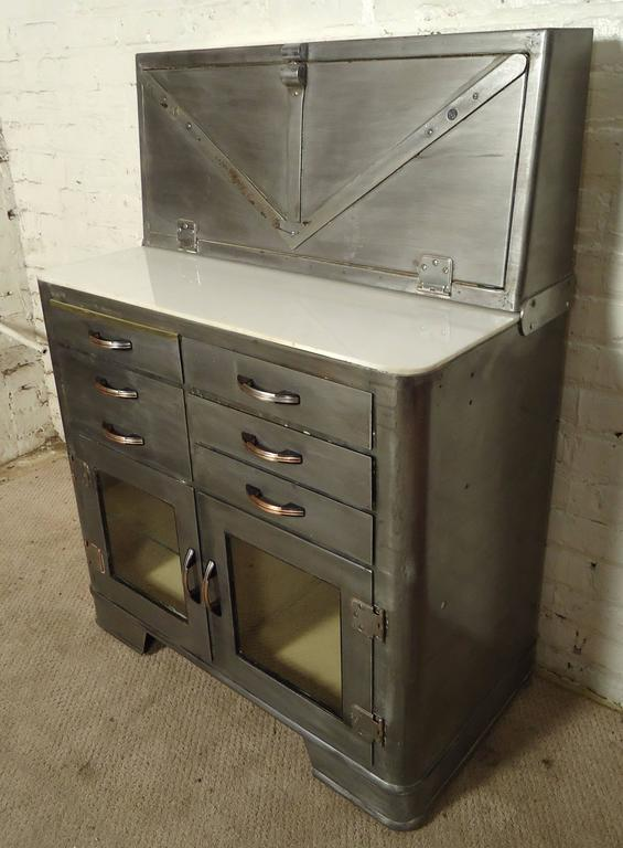 Vintage Hospital Cabinet, Bathroom Storage In Distressed Condition For Sale In Brooklyn, NY
