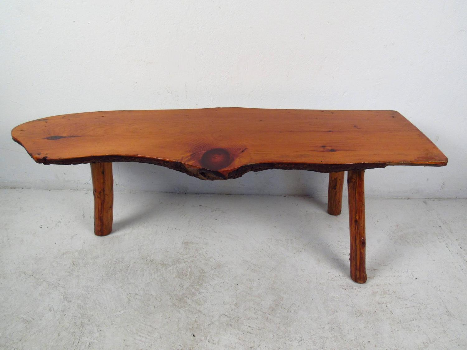 Vintage rustic tree trunk coffee table for sale at 1stdibs Old trunks as coffee tables