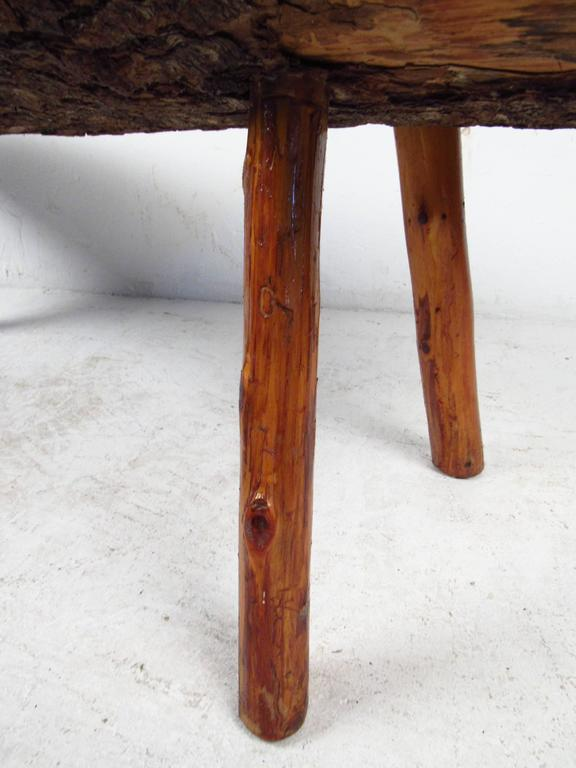 Vintage Rustic Tree Trunk Coffee Table For Sale 2