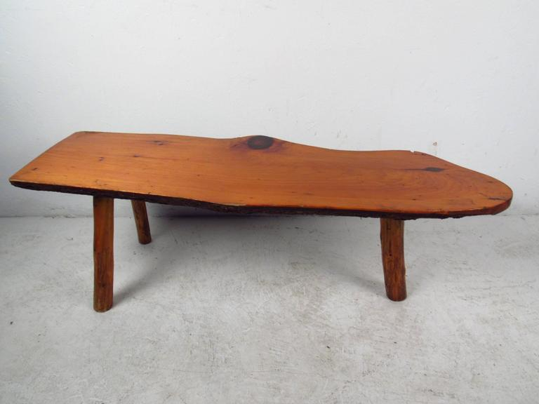 Mid-Century Modern Vintage Rustic Tree Trunk Coffee Table For Sale