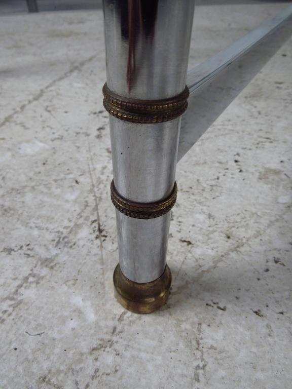 Rectangular Glass Coffee Table: Mid-Century Modern Chrome And Glass Rectangular Coffee