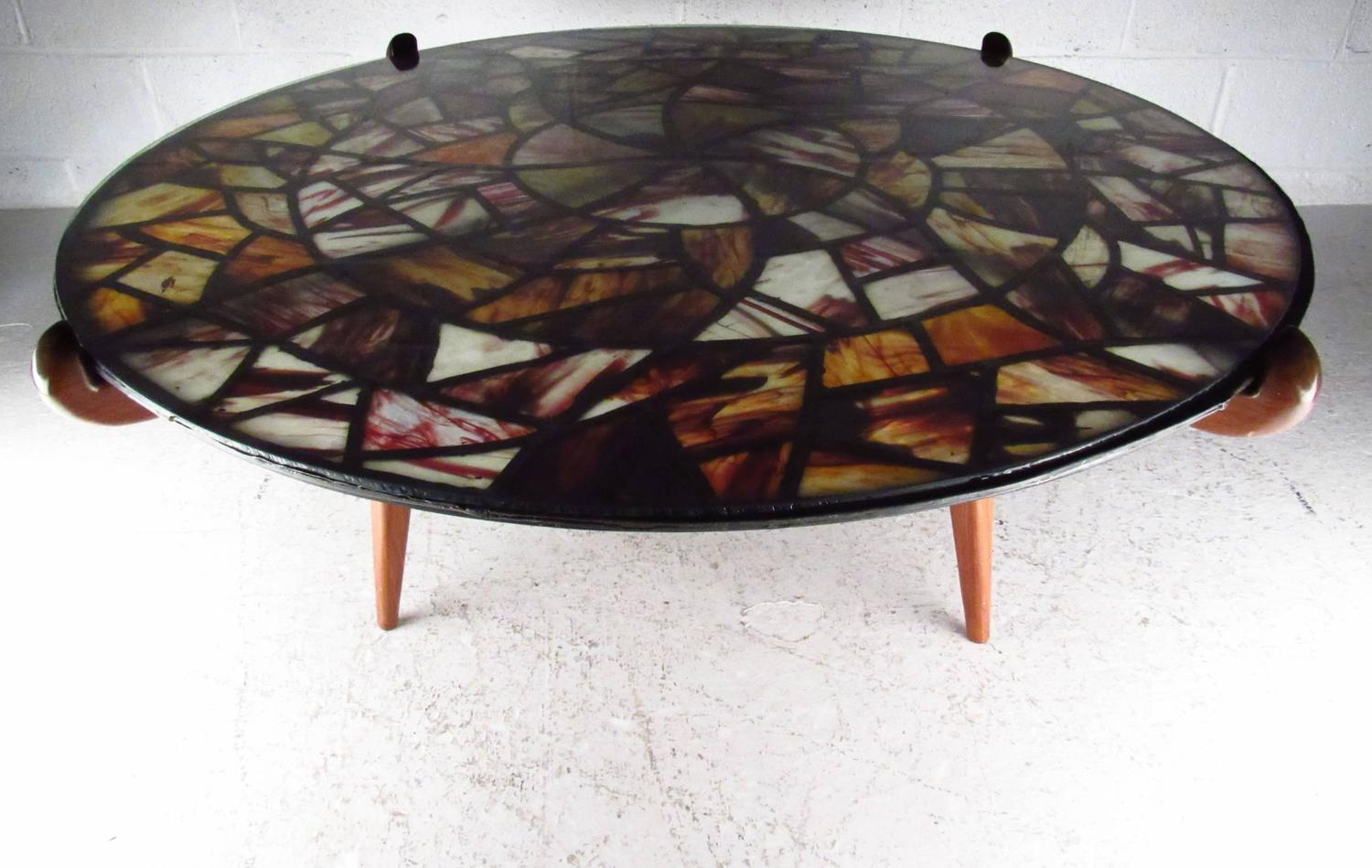 Mid Century Modern Walker Weed Stained Glass Coffee Table For Sale At 1stdibs