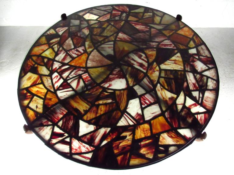 Mid-20th Century Mid-Century Modern Walker Weed Stained Glass Coffee Table For Sale