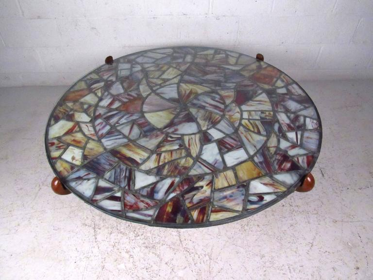 American Mid-Century Modern Walker Weed Stained Glass Coffee Table For Sale