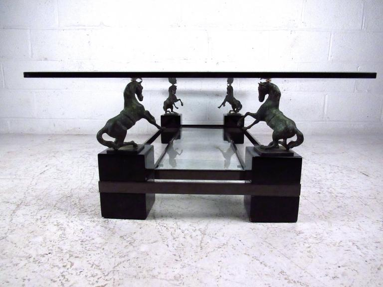 Unique Mid Century Sculptural Horse Coffee Table Attributed To Maison  Charles 3