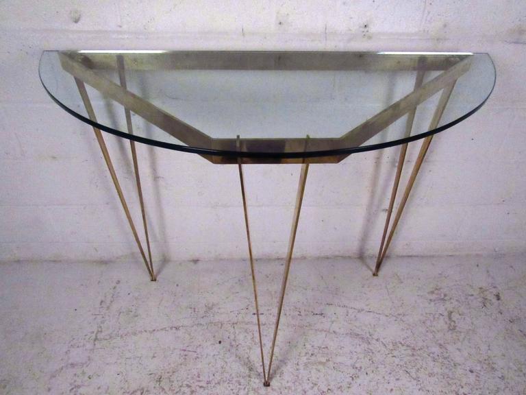 Mid Century Modern Vintage Demilune Hall Table For Sale