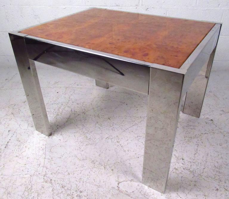 Milo Baughman Inspired Burl Wood Coffee Table For Sale At 1stdibs