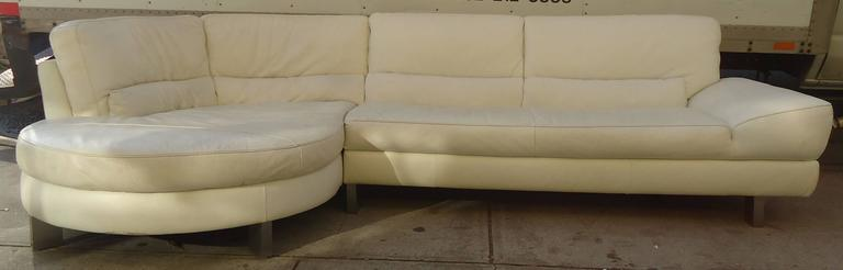Vintage Modern Sectional Sofa Features Leather Upholstery And Chrome Feet.  Italsofa By Natuzzi.