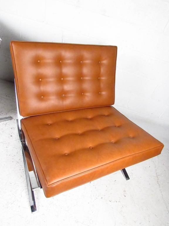 Mid Century Modern Barcelona Chairs In The Style Of Mies Van Der Rohe For  Sale