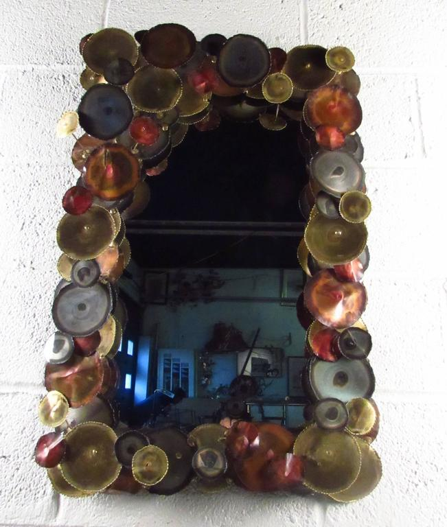 Mid-Century Modern Mid-Century Wall Mirror after Curtis Jere For Sale