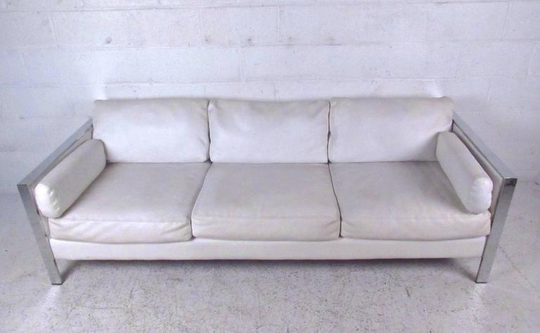 Mid-Century Modern Vintage Modern Chrome Frame Sofa after Milo Baughman For Sale