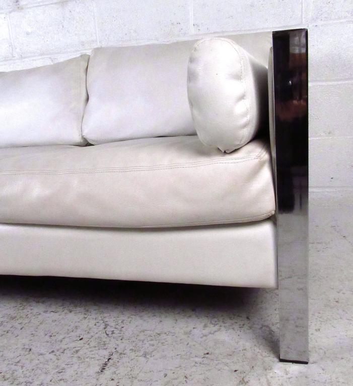 Late 20th Century Vintage Modern Chrome Frame Sofa after Milo Baughman For Sale