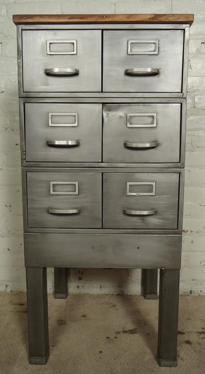 Charmant Petite Wood Top Industrial File Cabinet In Distressed Condition For Sale In  Brooklyn, NY