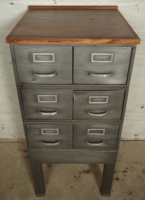 Gentil Petite Wood Top Industrial File Cabinet