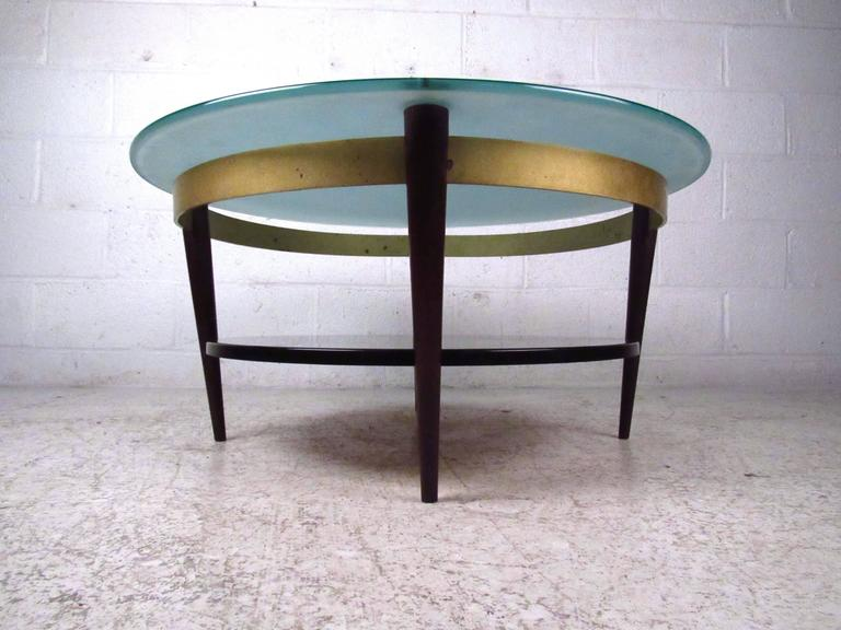 Unique mid century floating top glass and brass coffee for Unusual cocktail tables