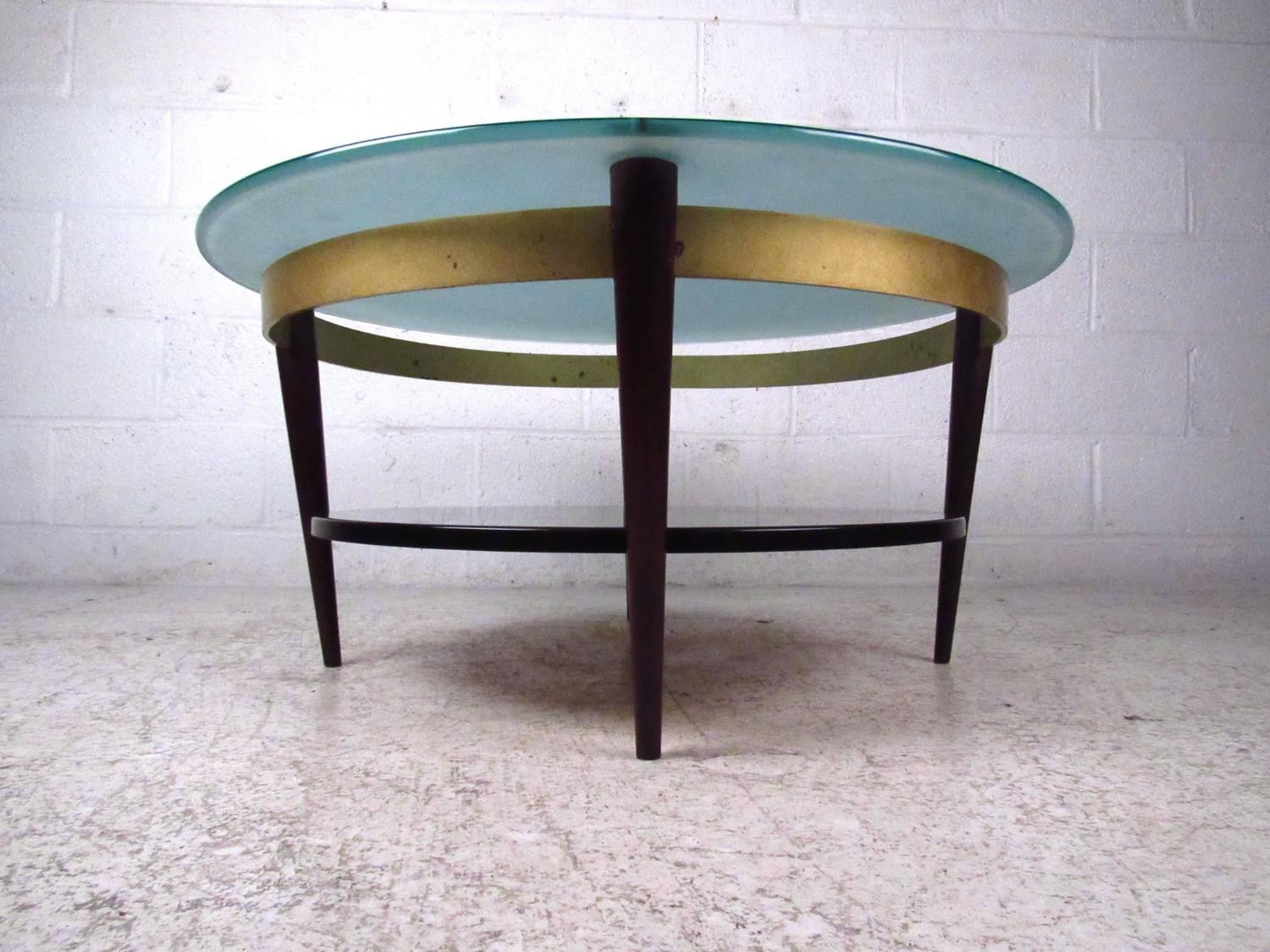 unique mid century floating top glass and brass coffee table for sale at 1stdibs. Black Bedroom Furniture Sets. Home Design Ideas