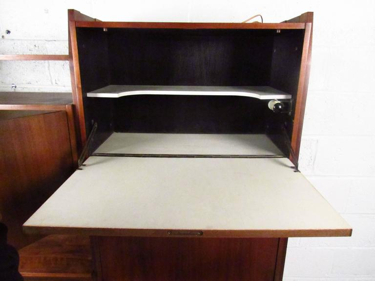 Mid Century Wall Unit with Drop Down Writing Desk For Sale