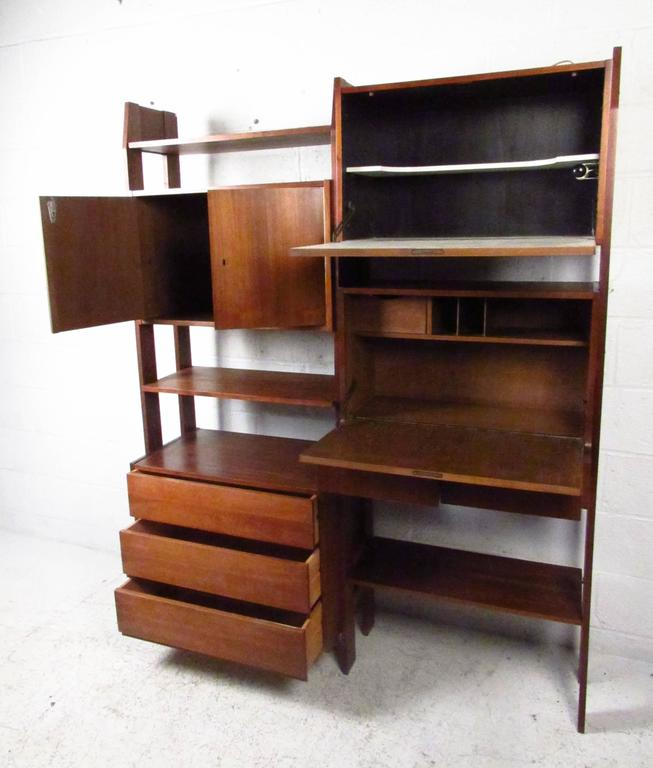 Mid Century Wall Unit With Drop Down Writing Desk For Sale At 1stdibs
