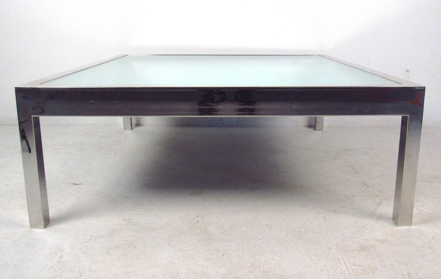 unique midcentury mirrored glass and chrome coffee table for sale at 1stdibs. Black Bedroom Furniture Sets. Home Design Ideas