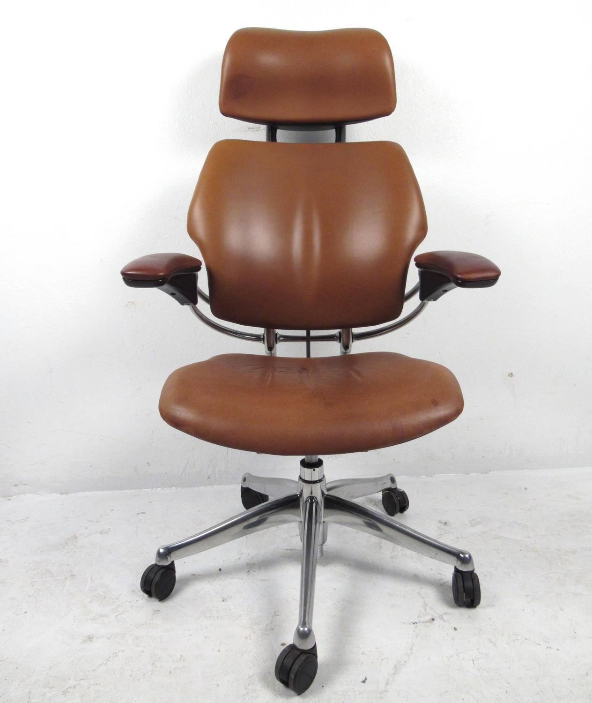 Amazing Midcentury Style Ergonomic Leather Swivel Desk Chair At 1stdibs