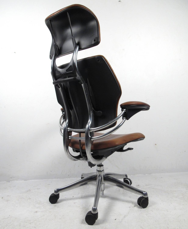 Midcentury Style Ergonomic Leather Swivel Desk Chair at