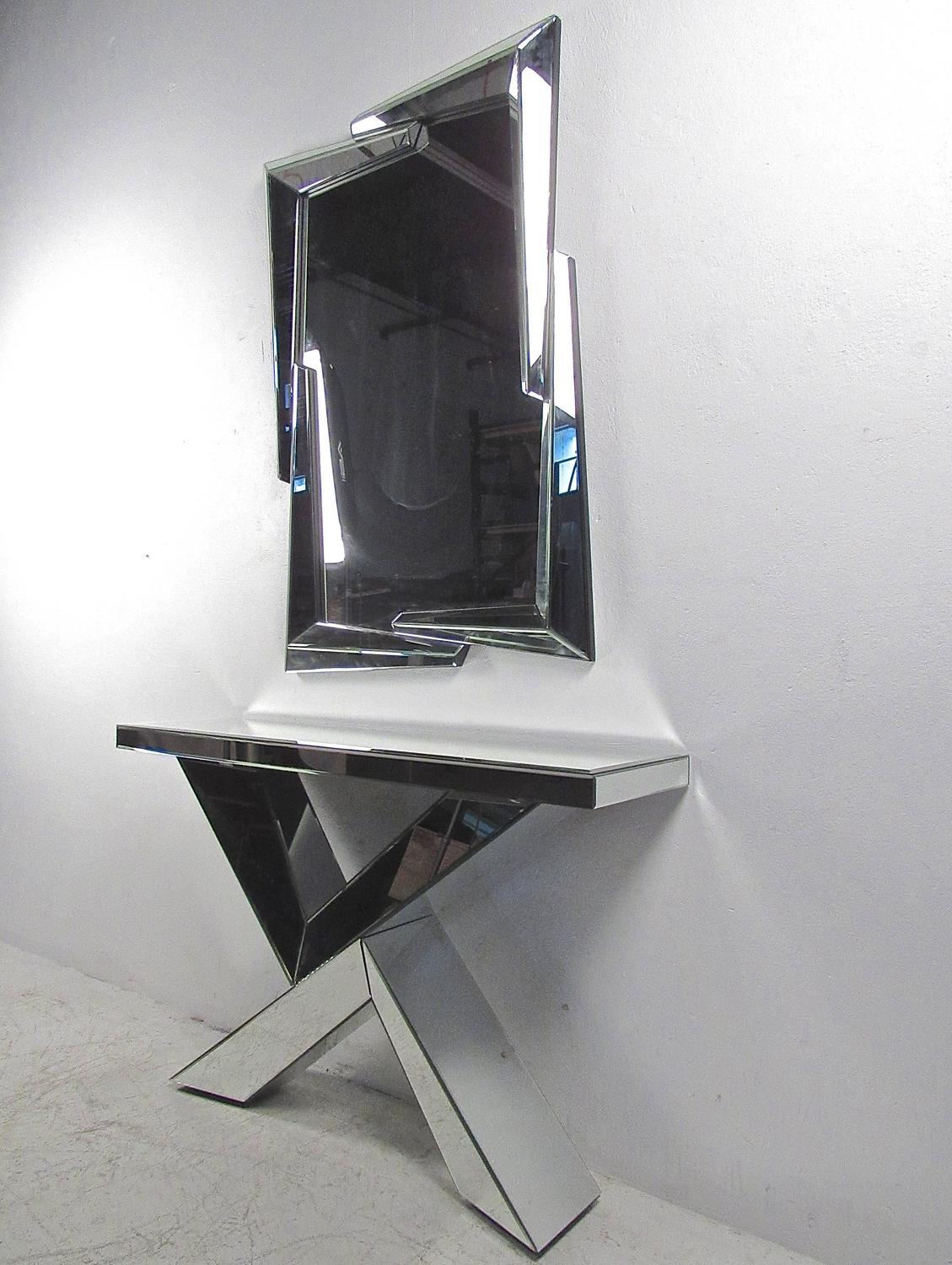 Mid century modern style mirrored console table with wall mirror for sale at 1stdibs - Modern console table with mirror ...