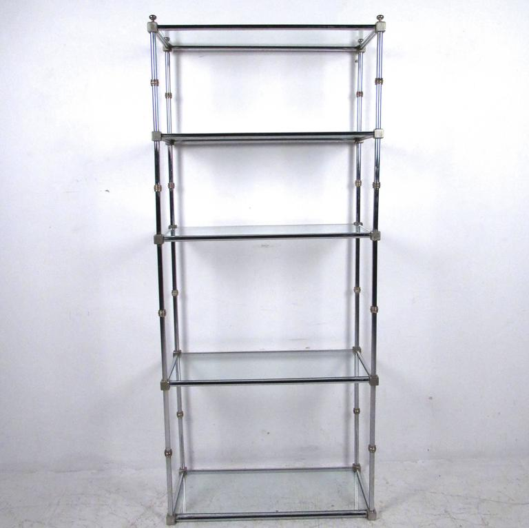 mid century modern chrome and brass display etagere for sale at 1stdibs. Black Bedroom Furniture Sets. Home Design Ideas