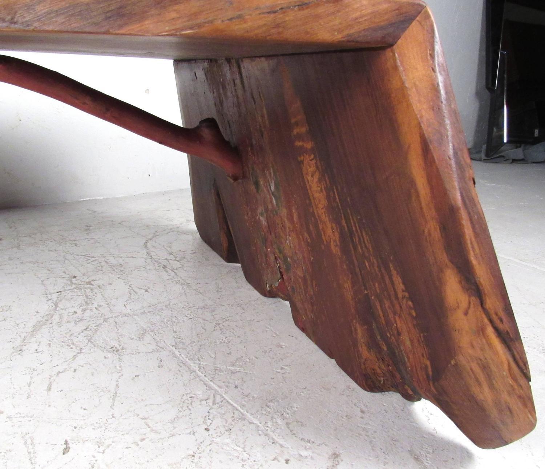 Adirondack Rustic Free Edge Slab Table For Sale At 1stdibs: Unique Mid-Century Modern Nakashima Style Free Edge Coffee