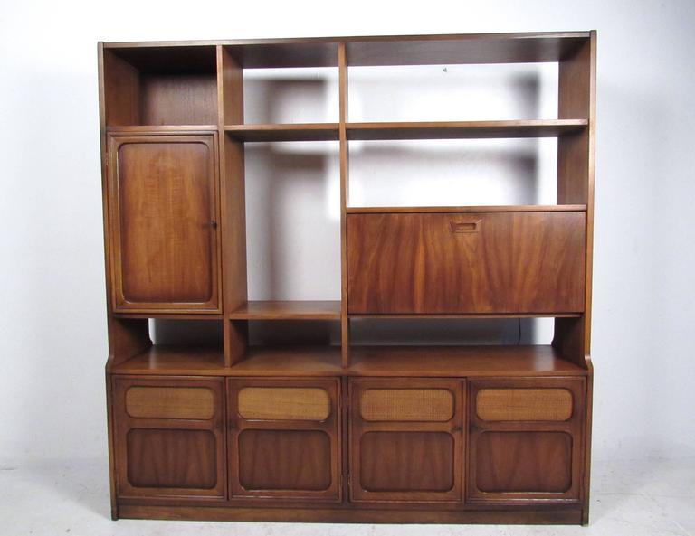 Midcentury American Walnut Wall Unit Bookshelf For Sale at 1stdibs