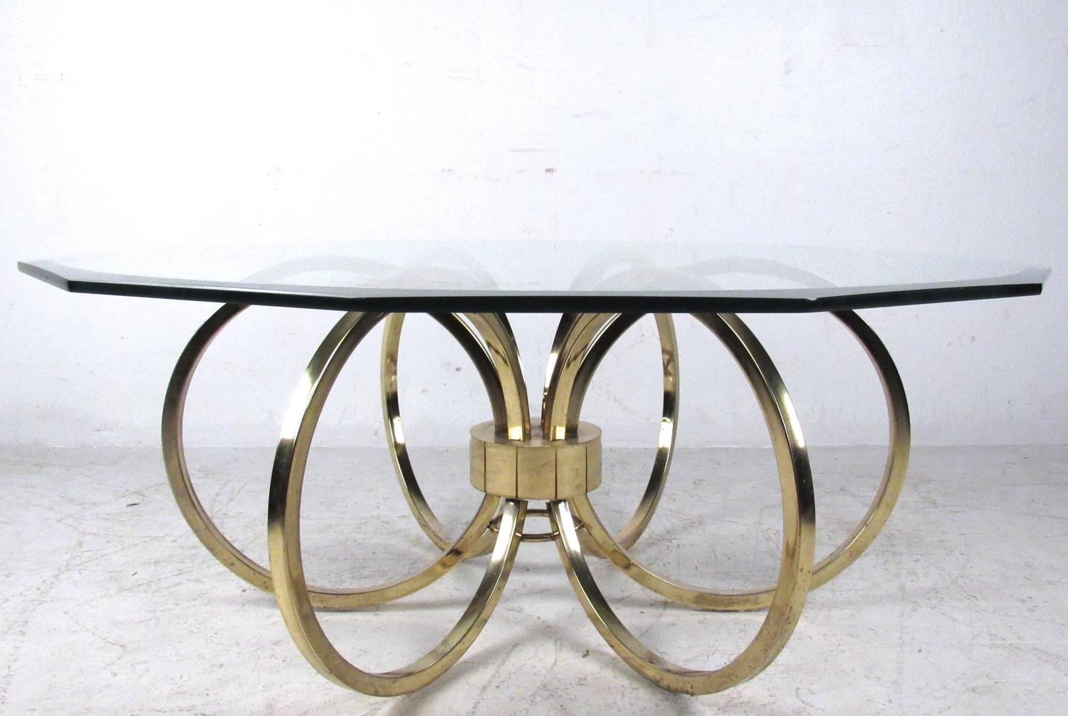 Elegant Mid Century Modern Beveled Glass Coffee Table For Sale At 1stdibs