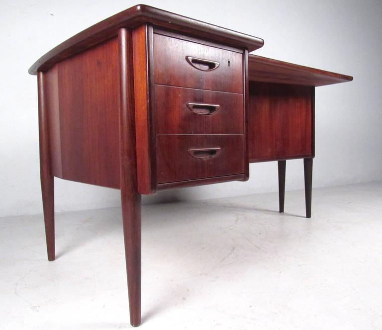 Stylish Mid-Century Modern Danish Teak Desk 2