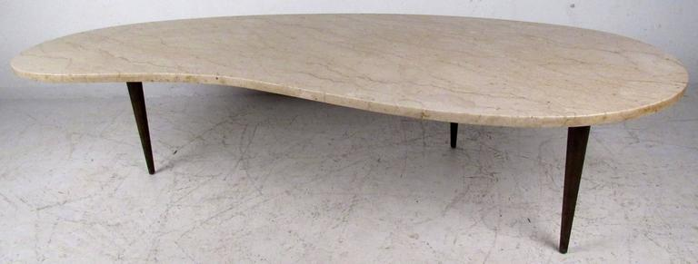 The Stylish Kidney Shaped Marble Top On This Italian Modern Coffee Table Makes A Unique Impression
