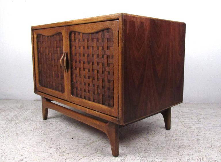 Mid Century Modern Basket Weave Cabinet By Warren Church For Lane For Sale At 1stdibs
