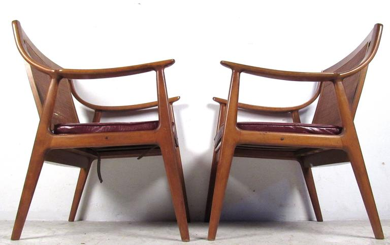 American Pair Vintage Modern Cane Back Armchairs For Sale