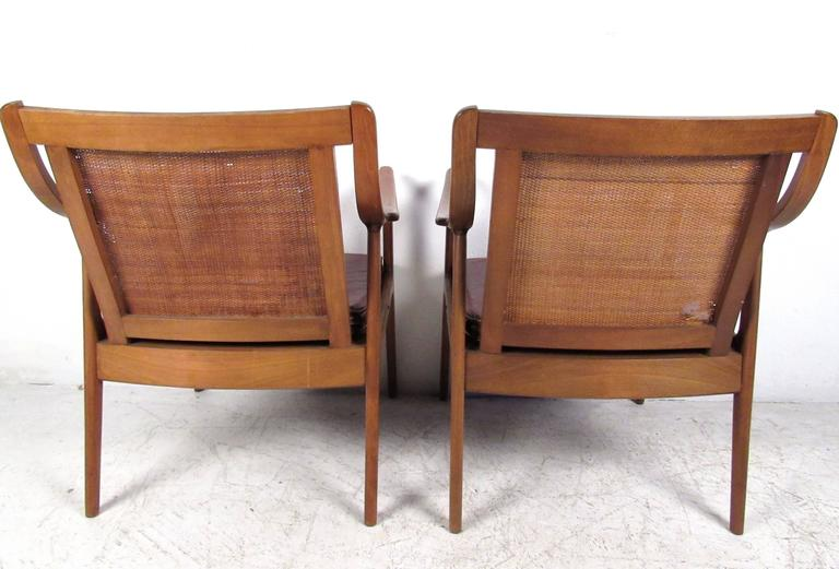 Pair Vintage Modern Cane Back Armchairs In Good Condition For Sale In Brooklyn, NY