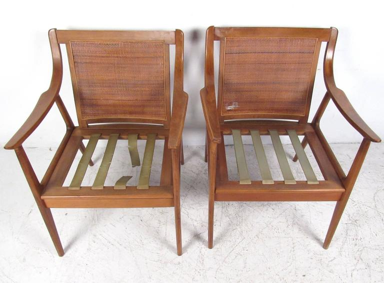 Pair Vintage Modern Cane Back Armchairs For Sale 2