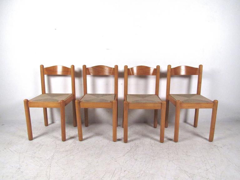 Mid Century Modern Italian Rush Seat Dining Chairs For