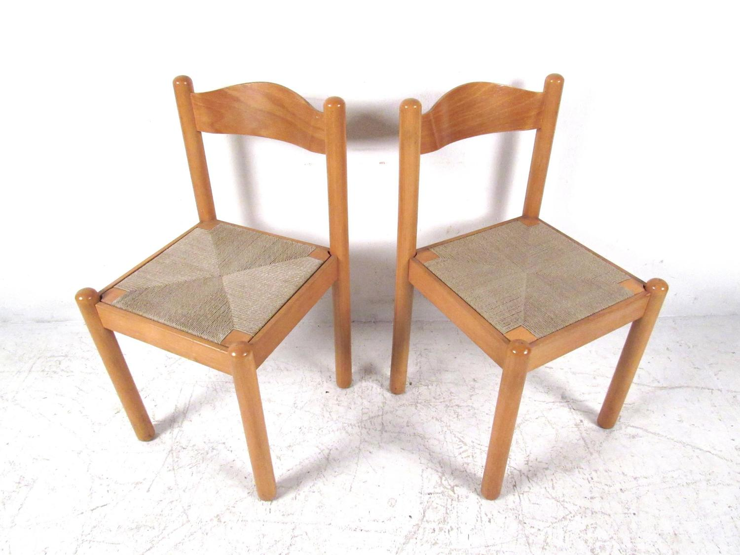 Set Of Mid Century Style Italian Rush Seat Dining Chairs