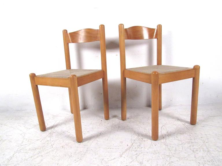 Mid-20th Century Italian Rush Seat Dining Chairs For Sale
