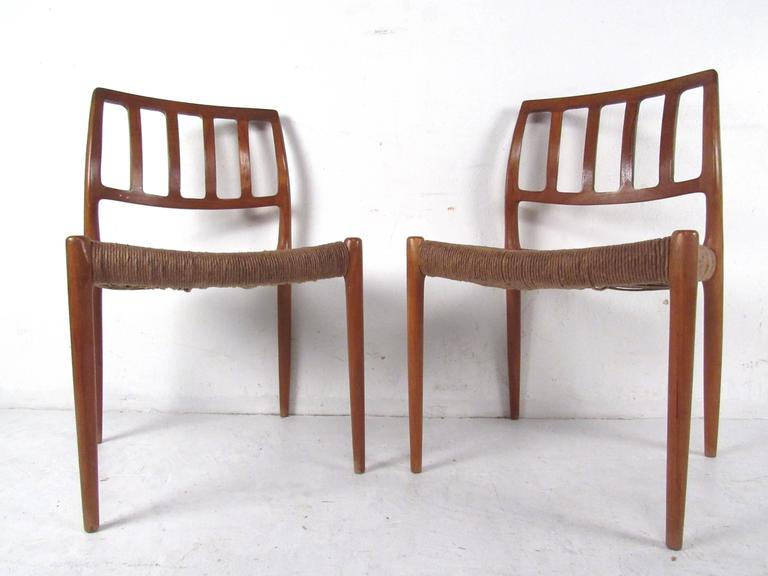 N.O. Møller Teak and Rush Seat Dining Chairs In Good Condition For Sale In Brooklyn, NY