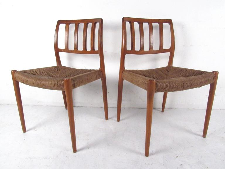 N.O. Møller Teak and Rush Seat Dining Chairs For Sale 1