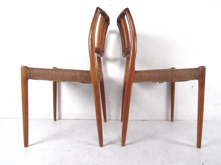N.O. Møller Teak and Rush Seat Dining Chairs For Sale 2