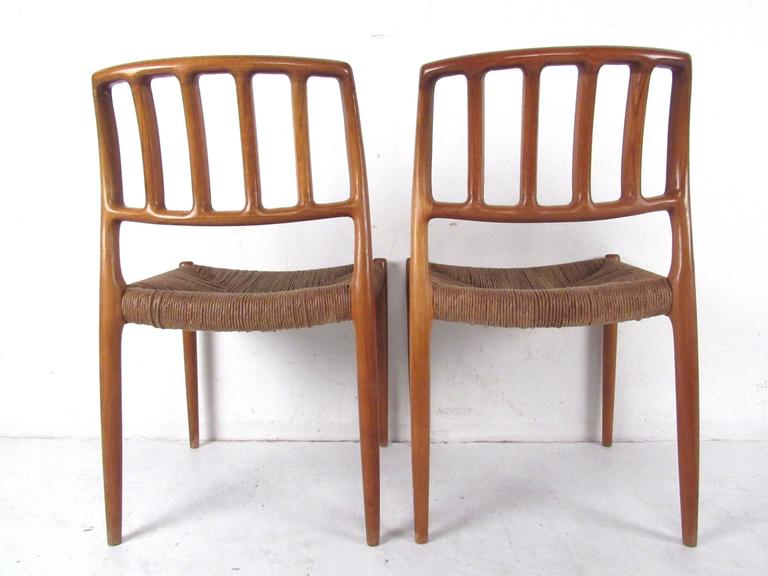 N.O. Møller Teak and Rush Seat Dining Chairs For Sale 3