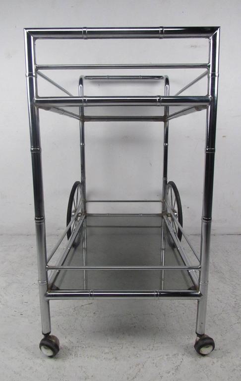 Mid-Century Modern Vintage Chrome Bar Cart For Sale