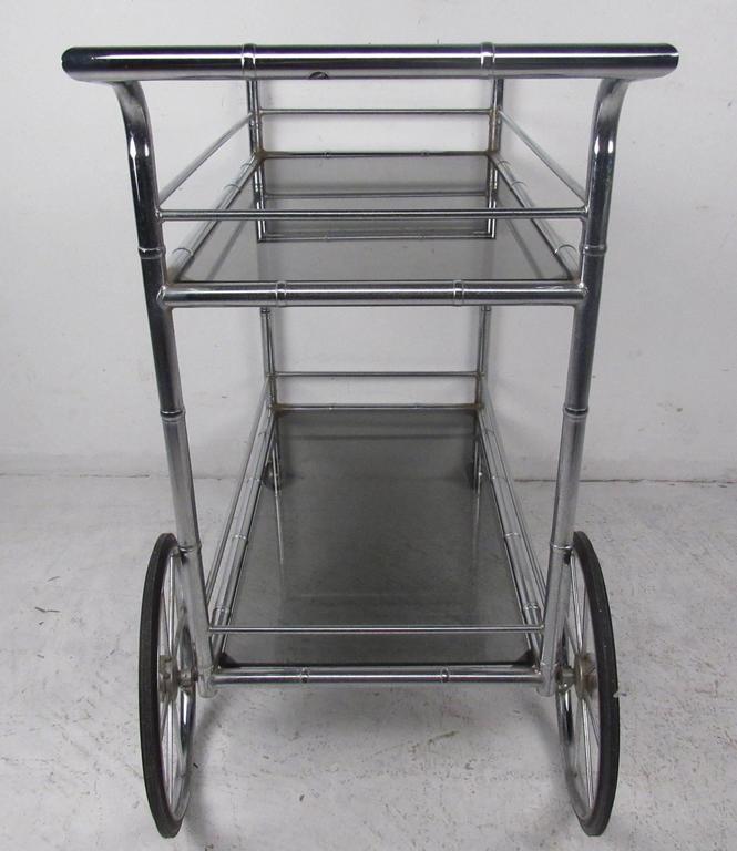Vintage Chrome Bar Cart For Sale 1